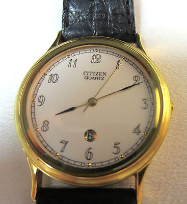 vintage retro ladies citizen watch  gold tone original leather band quartz