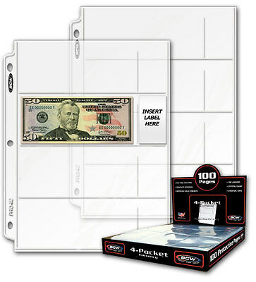 100 BCW sheets / pages to display Currency with 4 Pockets to fit Binder Albums