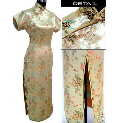 Gold Chinese Style Lady long Dress Cheong-Sam S-6XL