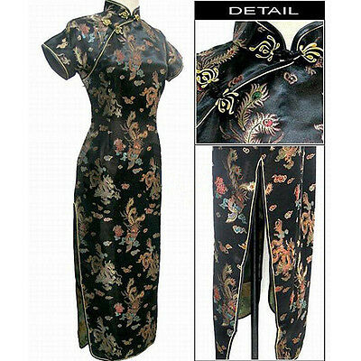 Black Chinese Style Lady long Dress Cheong-Sam S-6XL