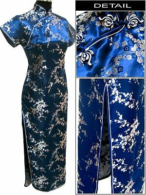 Blue Chinese Style Lady long Dress Cheong-Sam S-6XL