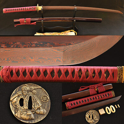 Black&Red Folded Steel Full Tang Blade Brass Tsuba Japanese Samurai Sword Katana