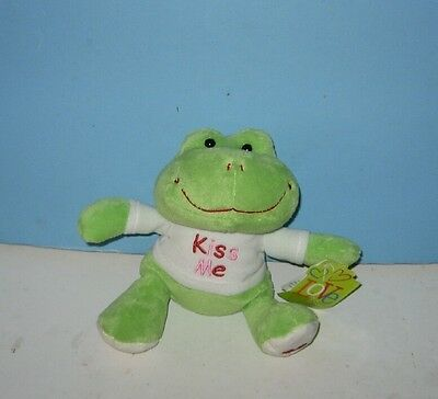 """New 6"""" Lime Green """"Kiss Me"""" Valentine Heart Foot Pond Frog Plush"""