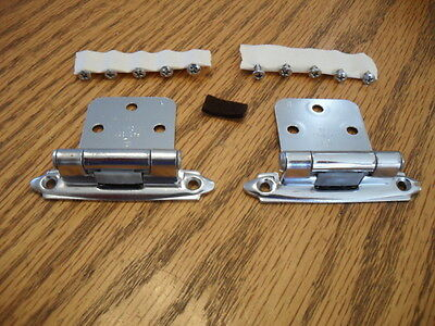 VTG NOS CHROME Hinges for 30 Degree Reverse Bevel Overlapping Doors Self-Closing