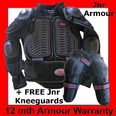 4BP Junior MOTOCROSS/BMX BODY ARMOUR (+free knee guards) Kids sizes Age 2-16