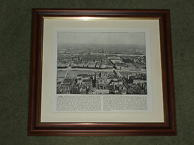 Dated 1895 Print over 120 years old Lyons View City of Silk available unframed x