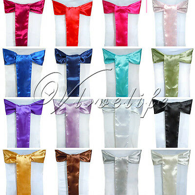 "75PCS New 15cm*275cm Satin Chair Sashes Bows Wedding Party Decorations 6""x 108"""