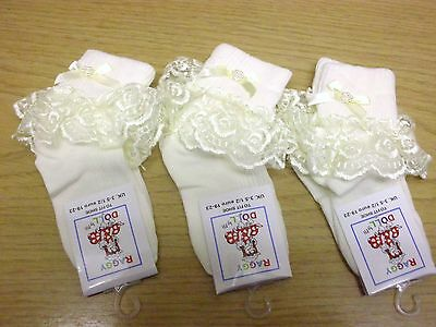 3 Pairs Baby / Girl Frilly Lace Turn over Top Ankle Socks + Bow. in Cream