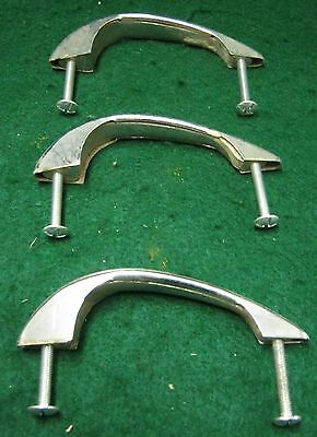 1950's Chrome Drawer Door Vintage Old Cabinet Pulls Set of 3    26-12