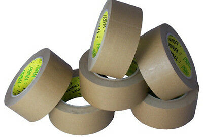 """6x Kraft Paper Tape Rolls Brown Size 48mm (2"""") x 66m Packing Picture Framing"""