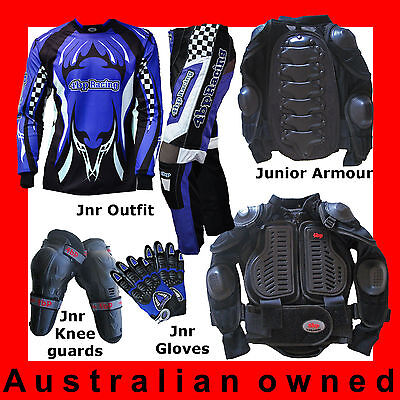 4BP Motocross 4 pack Junior/Kids (Armour,Pants, Jersey Gloves) - Blue