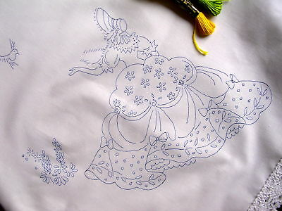 Tablecloth to embroider  Crinoline Lady lace edge Cotton print embroidery CSOOO4