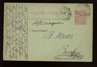 Monaco 1909 10c Stationery Card Used #456