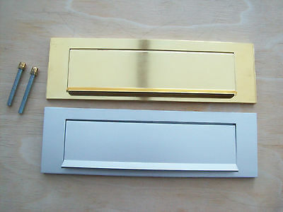 Sprung Aluminium Brass Silver Gravity Letter Box Postal Plate Cover Tidy