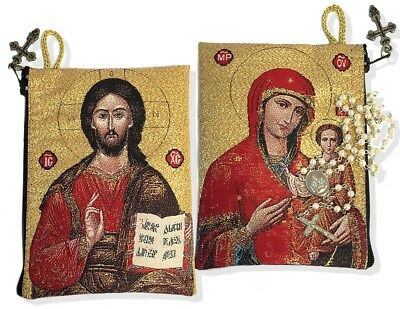 Virgin Mary of Smolensk Christ Madonna & Child Rosary Icon Pouch Case WOW NEW