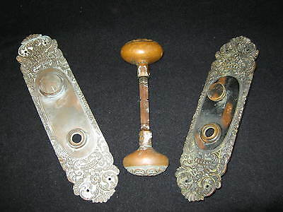ANTIQUE Brass Door Knob Oval with Backplates Decorative Floral Set  #88-12