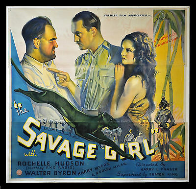 THE SAVAGE GIRL * CineMasterpieces JUNGLE BLACK PANTHER ORIG MOVIE POSTER 1932