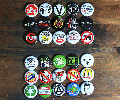 """30 x 1"""" ANIMAL RIGHTS BUTTONS pins badges vegetarian vegan liberation anti meat"""