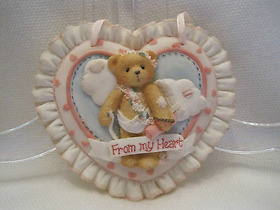 """Cherished Teddies: """"From My Heart"""" Heart Shaped Plaque"""