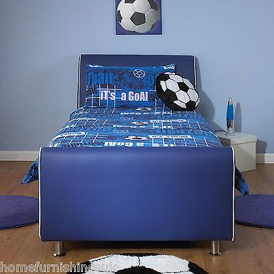Azure Boys Blue 3ft Single Faux Leather Bed Free Next Day Delivery