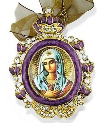 Jewel Russian Icon Pendant Purple Madonna Our Lady Medal Sorrow Chain Bow Gift