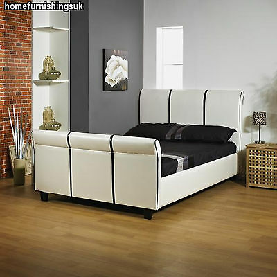 LUXURY Classic White & Black 3ft Single HAND MADE FAUX LEATHER BED FRAME