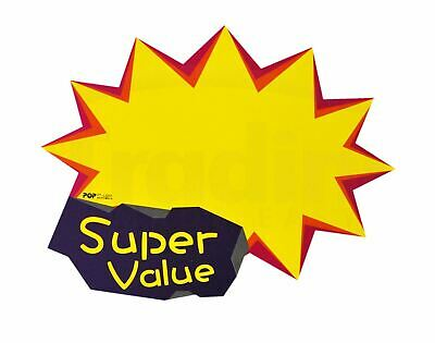 """Pack of 10 Retail Shop Promo Signs...""""Super Value"""" Sale / Price Tag (L2201)"""