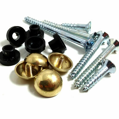 "25mm 1/"" MIRROR // PLAQUE SCREWS WITH CHROME DOME SCREW IN HEAD PACK OF 24"