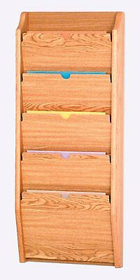 Wooden Mallet 5 Pocket Privacy Letter Size Chart Holder/HIPAA Compliant LightOak