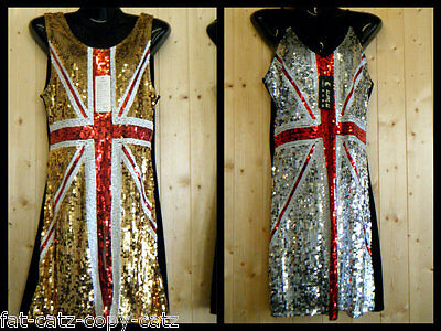 Quality Silver Gold Blue Union Jack England Flag Sequinned Ladies Dress Ukseller