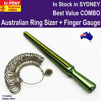 Ring Sizer Mandrel AUSTRALIAN Size + Finger Gauge COMBO | Metal | AUSSIE Seller