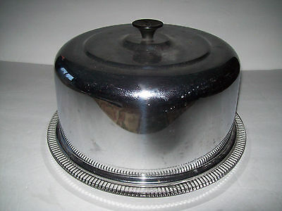 Vintage Retro Chrome Footed Fluted Glass Cake Plate Server Saver Black Knob