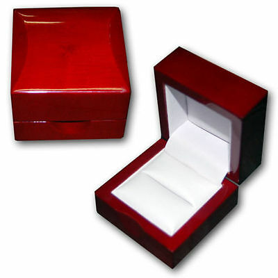 NEW 1 Cherry Rosewood Solid Wood Ring Jewelry Box