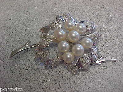 Estate 14k White Gold Pearl Brooch or Pin   Make Offer