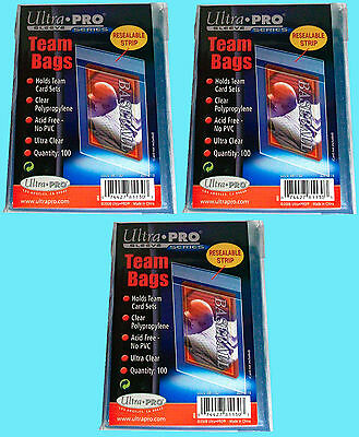 300 Ultra Pro TEAM SET BAGS Resealable Strip card storage UV protection 3 Packs