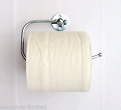 Wall Mounted Chrome Metal Toilet Paper Loo Roll Holder With Fittings