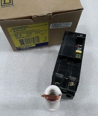 Square D Qo250Gfi New In Box Ground Fault Plugin Circuit Breaker 2P 50A 120/240V
