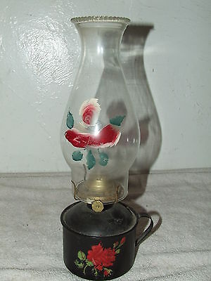 Antique 19th C. Painted Tole Floral Wall Mount Oil Lamp 4;P&A Mfg. Co. Thomaston