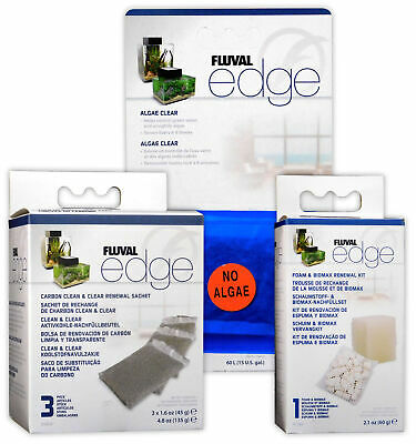 Fluval Edge Tank Filter Replacement Biomax Foam, Carbon Set & Algae Clear Sachet
