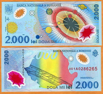 Romania, 2000 Lei 1999, FIRST POLYMER, P-111, UNC