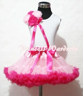 Multi Hot Light Pink Pettiskirt and Bunch Rosettes 1-8Y