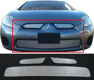 Ccg Mesh Grill Inserts For 06-08 Mitsubishi Eclipse Grille Top And Bottom Silver