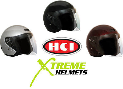 HCI DOT Motorcycle Helmet Open Face - M,L or XL CHOOSE STYLE & COLOR!