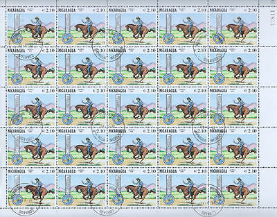 Nicaragua 1981 Pony Express Horses Full Complete Sheet #S380