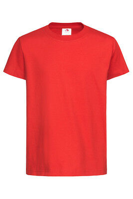 Kids Childrens Childs Boys Girls Plain RED Cotton Short Sleeve T-Shirt Tee Shirt