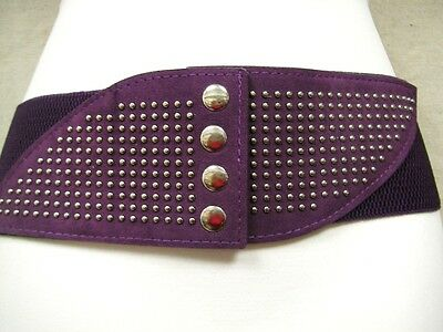 """WOMEN PURPLE LEATHER ELASTIC BELT W// STUDS AND CHIC CIRCLE BUCKLE 31/""""-42/"""""""