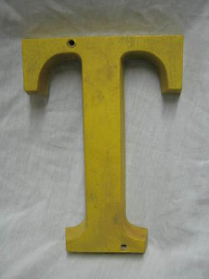 "Vintage Yellow Plastic Composition Letter ""T"" 1950's # 228-12"