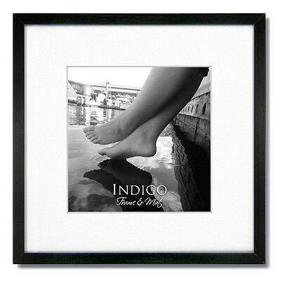 ONE 16X16 Square Black Wood Picture Frames, Glass, White mat for ...