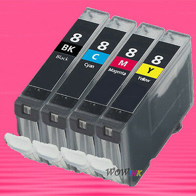4P Cli-8 Bk C M Y Set Ink Cartridge For Canon Ip4200 Ip6600 Ip6700 Mp520 Mp530