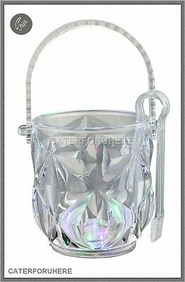 Elegant Ice Bucket Handle Tong Acrylic Plastic Clear Crystal Design Wine Drinks